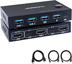 AIMOS HDMI KVM Switch, HUD 4K 2 Port Box, Share 2 Computers with one Keyboard Mouse and one HD Monitor, Support Wireless Keyboard and Mouse Connections, Not Support Hotkey, Can Connect to HUB