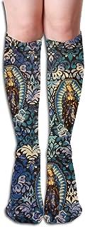 remmber me, Virgen de Guadalupe Patrón Mujeres Compresión Medias Novedad Rodilla Calcetines altos Calcetín largo deportivo