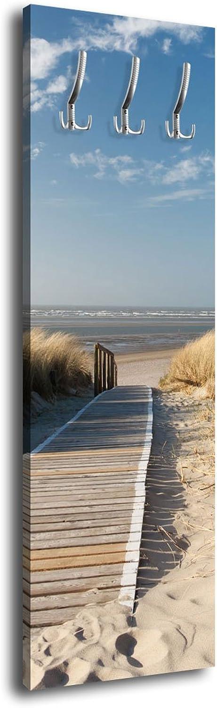 Wandmotiv24 Garderobe mit Design Nordseestrand G303 40x125cm Wandgarderobe Düne Himmel Sand