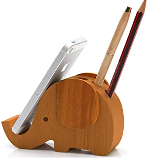APSOONSELL Wooden Elephant Shape Cell Phone Stand Holder for Desk Organizer(5.5in)