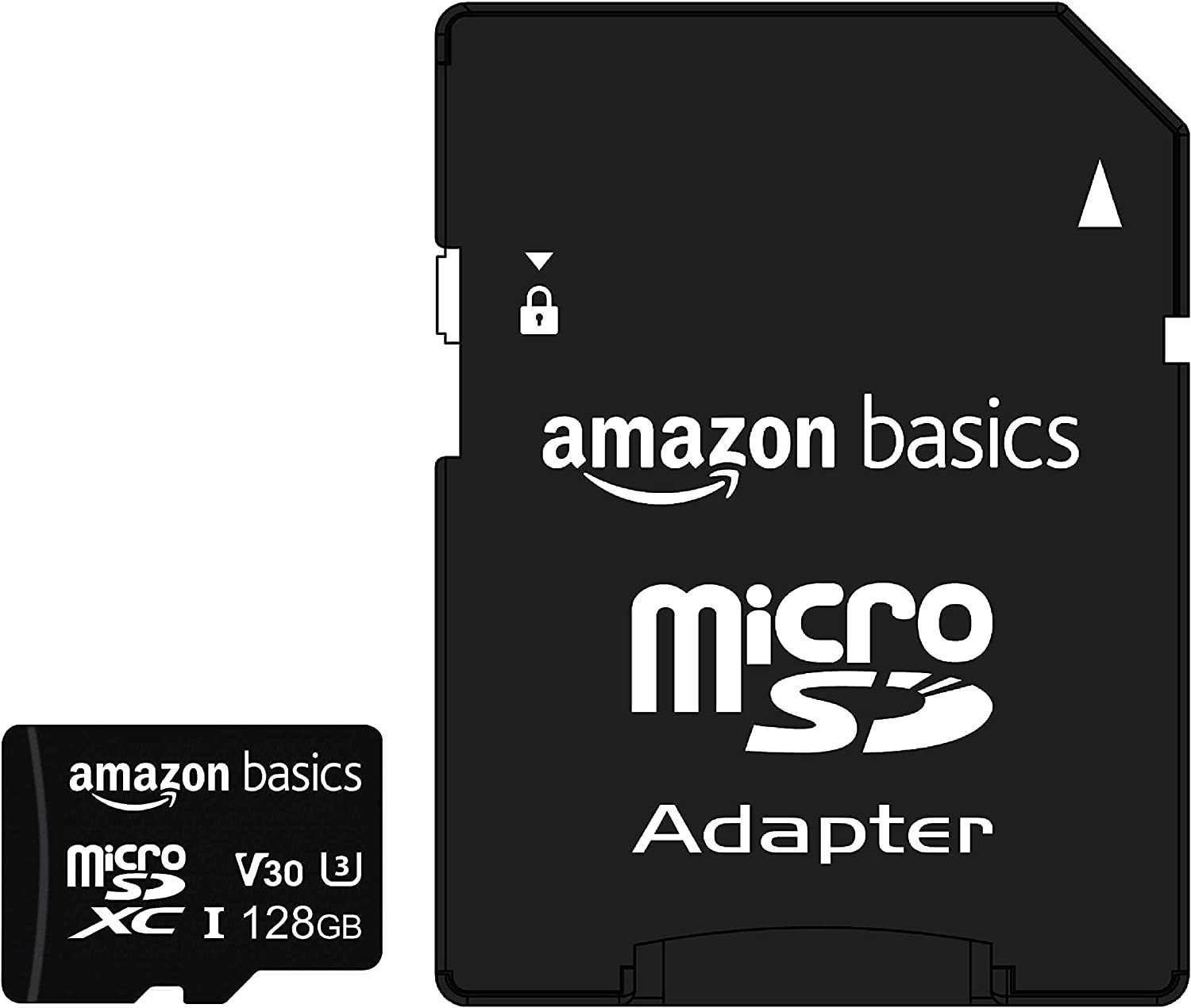 Amazon Basics - 128GB microSDXC Memory Card with Full Size Adapter, A2, U3, read speed up to 100 MB/s