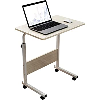 DlandHome Mobile Side Table 23.6 Inches w/Wheels Adjustable Movable Portable Laptop Computer Stand for Bed Sofa, Maple, 05-1