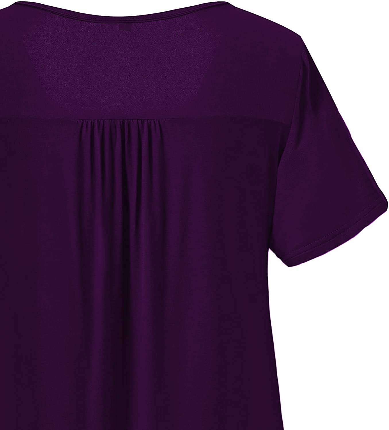 Uusollecy Women Plus Size Short Sleeves Shirts, U Neck Casual Soft Blouse, Loose Lace Shirt Tunic Tops