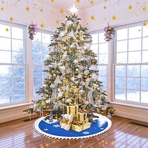 Weihnachtsbaum Rock Weihnachtsbaumdecke Rund Weihnachtsbaum Rock Groß Christbaumdecke Christbaumständer Teppich Baumdecke Weihnachtsbaum Deko, 122 cm, Blau