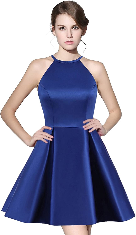 Belle House Women Homecoming Dresses Short for Juniors Halter Top Satin Backless A Line Prom Dresses 2018