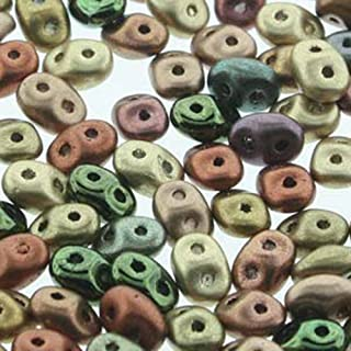 SuperDuo Vintage Copper Mix 2.5x5mm 2 Hole Beads Czech Glass Seed Beads 100 Gram Bag