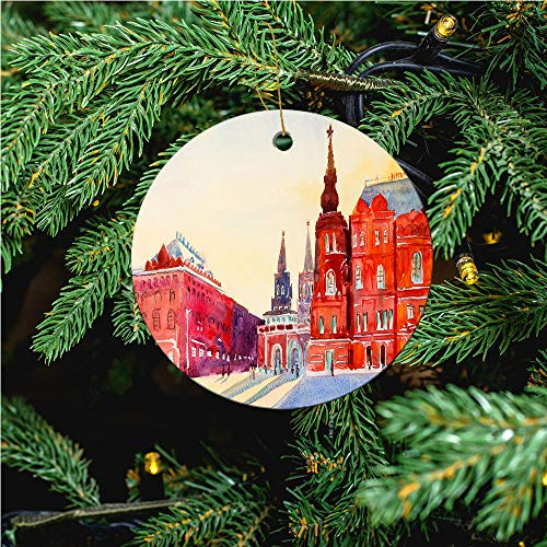 aosup State Historical Museum/Christmas Ornaments 2020 Christmas Ceramic Pendant Personalized Creative Christmas Decorations Double Sided Christmas Tree Ornament №W0501589