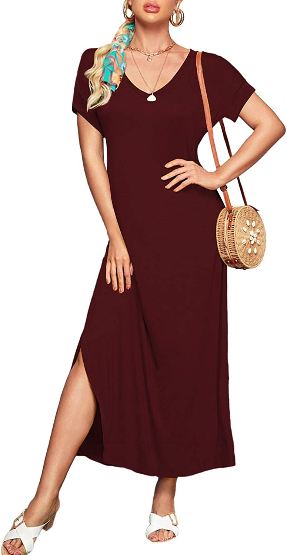 Linsery Women's Summer Maxi Dress Casual Loose Pockets Long Dress Short Sleeve Split