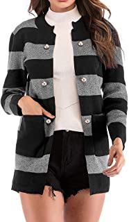 WILLBE Women's Striped Knitted Coat Button Front Colorblock Long Sleeve Blouse Striped Print Knitted Coat Cardigan Coat