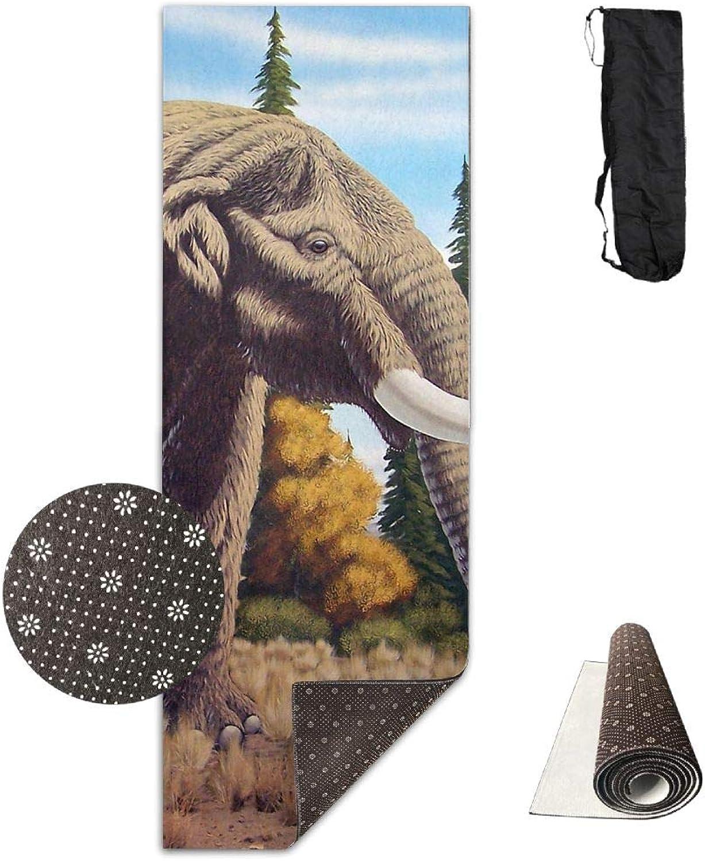 Yoga Mat Non Slip 24  X 71  Exercise Mats Elephant Mastodon Premium Fitness Pilates Carrying Strap