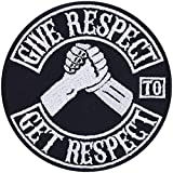Give Respect-Get Respect Parche termoadhesivo para motero, de metal resistente, ideal como regalo para motociclistas, para chaquetas, chalecos, vaqueros, barcos, maletas, 90 x 90 mm