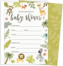 Safari Baby Shower Invitations Set of 25 Fill-In Style Cards and Envelopes. Jungle theme with Monkey, Giraffe, Elephant, Lion and Zebra. Printed on Heavy Card Stock. (Renewed)
