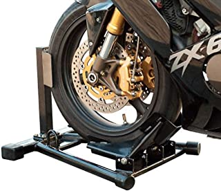 Trackside Roll On Front Tire Adjustable Multi-Fit Maintenance Steel Stand Sport Bike Street Motorcycle Wheel Chock