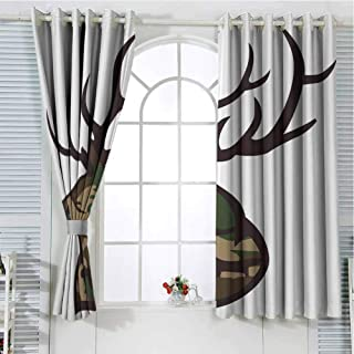 Jinguizi Grommet Window Curtain Curtains for Bedroom Antler Decor,Stag Deer Portrait with Camouflage Pattern Hunting Decor Hobby Mammal,Brown Cocoa Green Drapes Panels 55 x 63 inch