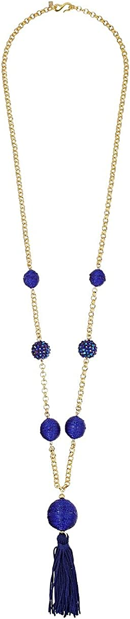 "36"" Gold Neck w/ Blue Pave Thread Wrap Balls/Center Tassel Necklace"