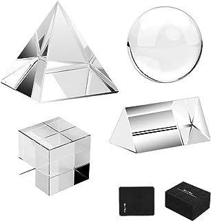 MerryNine 4 Stück K9 Optische Kristallfotografie Kits, 60 mm Objektivkugel und Würfel, 60 mm Kristallprisma und Pyramide, für Fotografie, Unterricht, Lichtspektrum, Physik und Foto Prisma, Kunst Dekor