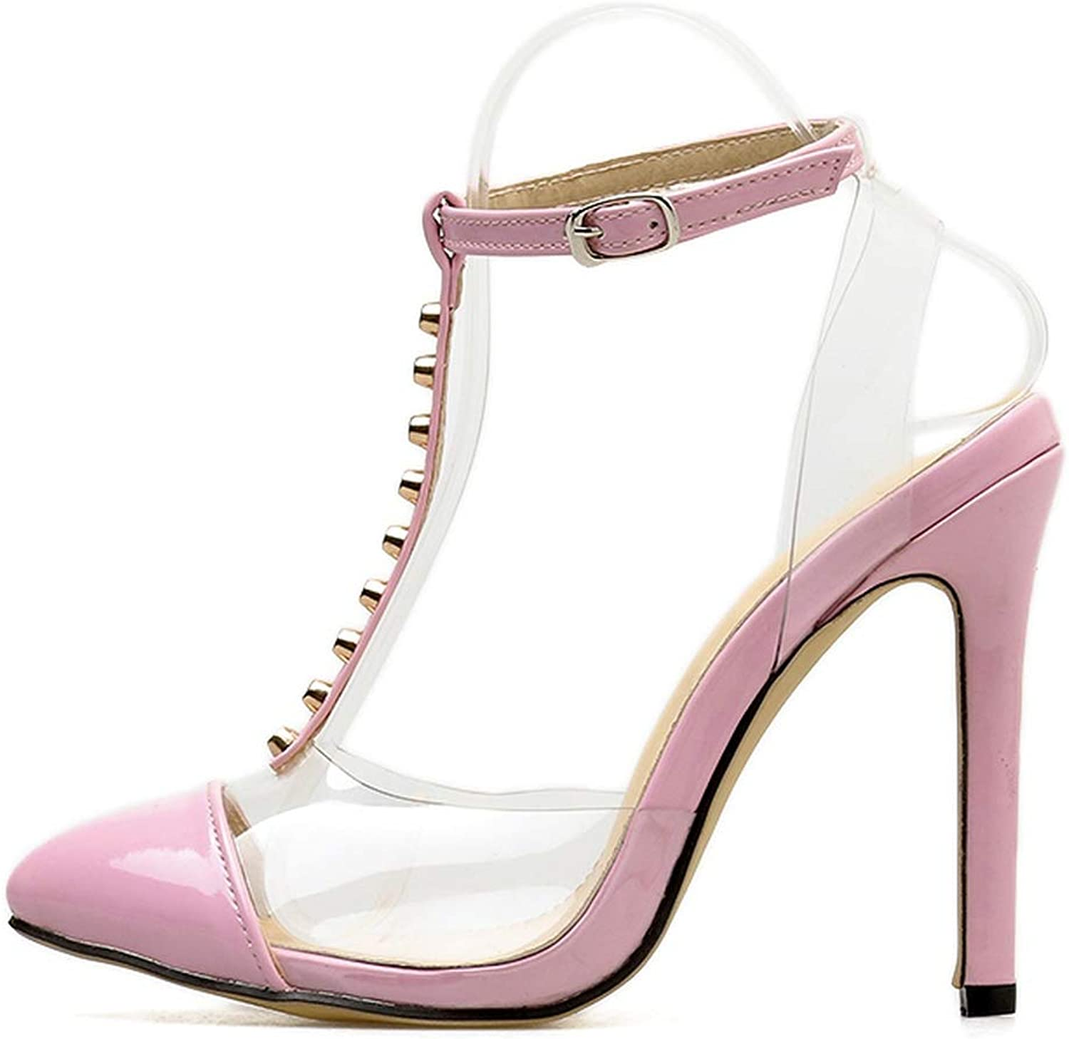 Little SU T Strap High Heels Sandal Pump with Ankle Strap Rivet Pointed Toe Buckle Strap Lady shoes