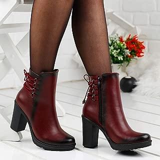 Ayakland 8021-840 Günlük 8 Cm Topuk Bayan Cilt Bot Ayakkabı BORDO