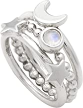 Mignon Faget Crescent Moon and Star Stacking Rings, Set of 3, Sterling Silver and Rainbow Moonstone