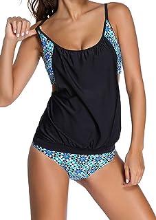 Ocean Plus Donna Tankini Maglia Imbottita Colorata con Slip Bikini Set Stripe Halter Costume da Bagno Due Pezzi