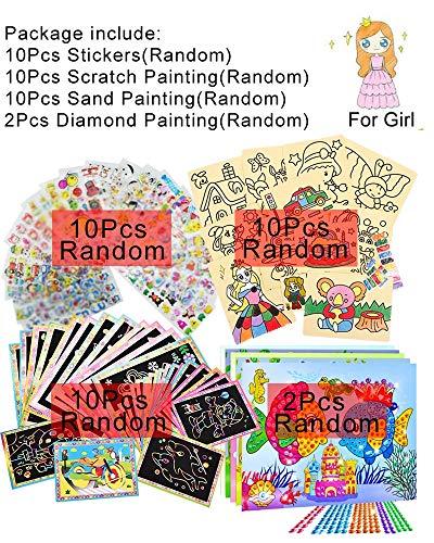 feilai Juego de 32 juguetes de dibujo para niños, pintura de arena, pintura de diamante, pegatinas educativas, juguetes de dibujo para niños GYH (color: niña 2ZS10SH10GG10TZ)