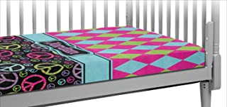 Harlequin & Peace Signs Crib Fitted Sheet (Personalized)