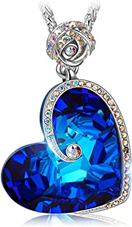 J.NINA ✦Aphrodite✦ Mother's Day Jewelry Gifts for Women Blue Rose Heart Necklace with Bermuda Blue Crystals from Swarovski White-Gold Plated Birthday Jewelry Gifts for Her Girlfriend