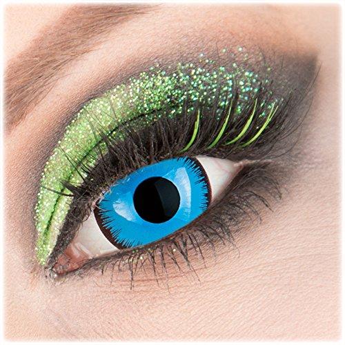Farbige blaue 'Alper' Mini Sclera Kontaktlinsen 1 Paar Crazy Fun 17 mm mit Behälter zu Fasching Karneval Halloween - Topqualität von 'Giftauge' ohne Stärke