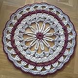 Tapete o alfombra mandala 80 cm. hecha a mano en granate, beige y lino, en cordón de...