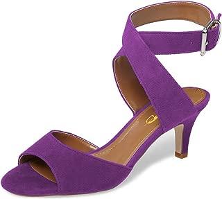 Women Low Kitten Heel Slingback Sandals Open Toe Buckled Cross Ankle Strap Summer Shoes