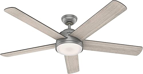 2021 Hunter Fan discount Company 59486 Romulus Ceiling Fan, 60, Matte Silver sale Finish outlet sale