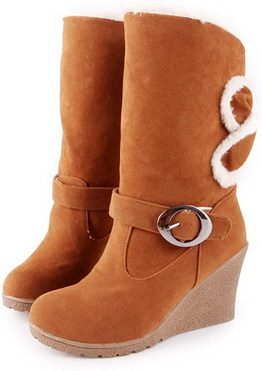 WeenFashion Womens Round Closed Toe High Heels PU Frosted Short Plush Solid Boots with Buckle and Bows