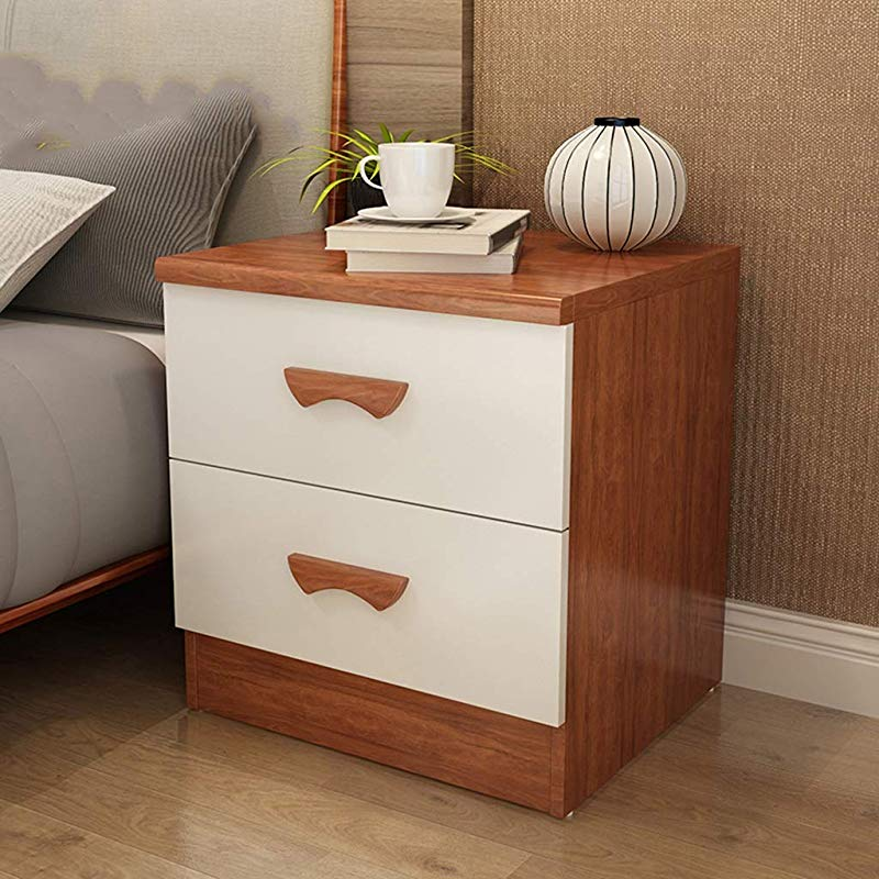 Bedside Table Bedside Table Rubber Wood Bedroom Bedside Table Two Drawers Solid Wood Storage Lockers Bedside Cabinet 2 Colors Size 40cmx48cmx49cm End Tables Color 2