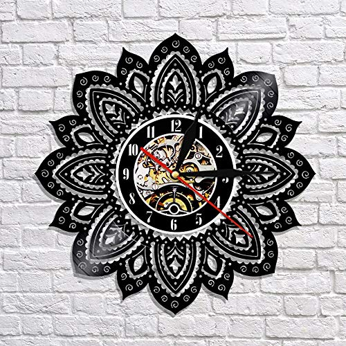 fdgdfgd Negro Retro CD Reloj Lotus 3D Reloj de Pared Disco de Vinilo Reloj de Pared Colgante Reloj de Tiempo Vintage Arte Clásico Decoración de Pared Decoración   Reloj de Pared Luminoso de 7 Colores