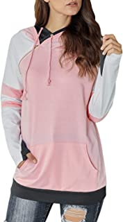Women Casual Double Hoodies Stripe Long Sleeve Cowl Neck Drawstring Pullover Sweatshirts Tops