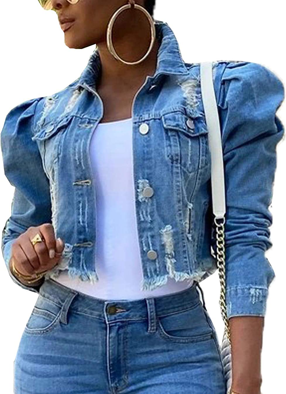 Women Denim Jackets Casual Button Down Ripped Fringed Jean Cropped Coat Outwear
