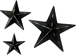 Bellaa 24131 Metal Wall Stars Western Barn Country Texas Black Set 12 inch 8 inch 6 inch..