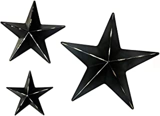 Bellaa 24131 Metal Wall Stars Western Barn Country Texas Black Set of 3