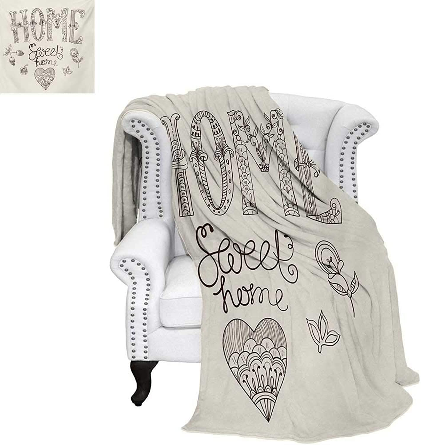 Warmfamily Home Sweet Home Summer Quilt Comforter Typography Illustration Floral Elements Artful Heart Figure Digital Printing Blanket 60 x50  Dark Brown Beige