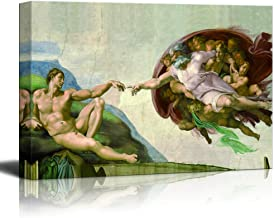 wall26 - Canvas Wall Art - Creation of Adam by Michelangelo Giclee - Modern Home Decor Stretched and Framed Ready to Hang - 24x36 inches