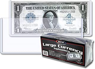 BCW Clear Large Currency Topload Holders, Size 7-9/16