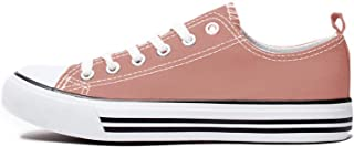 Women's Sneakers Casual Canvas Shoes, Low Top Lace up Cap Toe Flats (Order One Size Up) Purple Size: 7