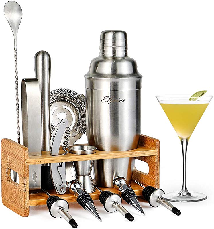 14 Pieces Cocktail Shaker Bar Set With Measuring Jigger Mixing Spoon Liquor Pourers Muddler Strainer And Ice Tongs Professional Bar Tools For Bartenders