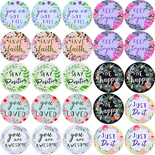480 Pieces Motivational Stickers Inspirational Words Stickers Motivational Quote Stickers Colorful Inspiring Stickers, Multiple Flower Patterns for Book Phone Car Bike Scrapbook, 1 Inch