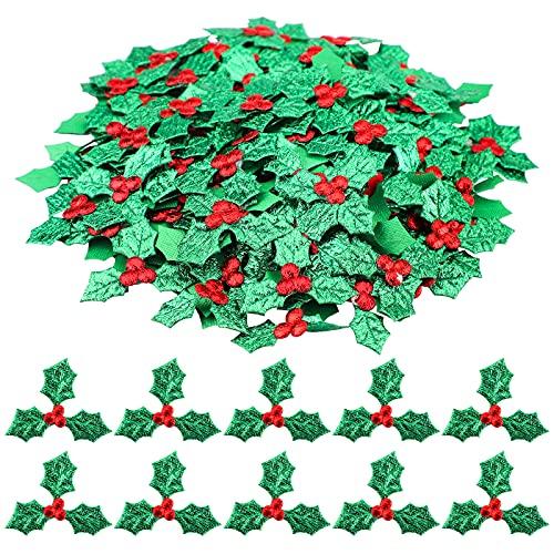200Pcs Artificiale Piccoli Bacche di Agrifoglio Bacche di Agrifoglio Artificiali con Foglie Verdi Agrifoglio Bacche Piccole Foglie Bacche di Agrifoglio Glitterate Bacche Agrifoglio Tripla Foglia (3.5)