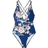 Seaselfie Women's Blue Floral Back Crisscross Strappy Removable Padded One Piece Beach Swimsuit