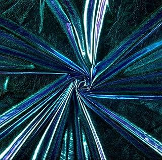 Metallic Foil Lame Spandex Knit Fabric (Green/Purple Iridescent Hologram, 5 Yards)