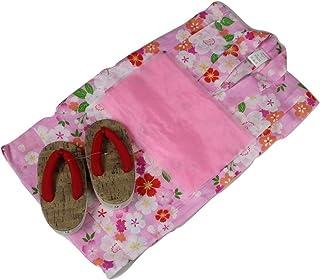浴衣セット Kawaiina 女の子 ゆかた(桜)桃色(紅梅織り) 3点セット KWG-12 120cm