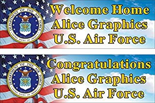 Alice Graphics 2ftX6ft Custom Personalized U.S. Air Force Welcome Home or Congratulations Banner Sign (1 Banner only)