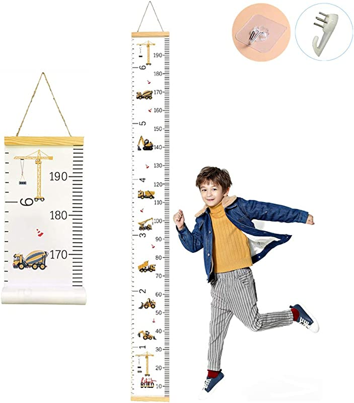 CCUT Kid Growth Chart Canvas Wood Wall Ruler For Boys And Girls Cartoon Construction Vehicle Patterns Great For Nurseries Bedrooms Wall Decor 79 Inches X 7 9 Inches